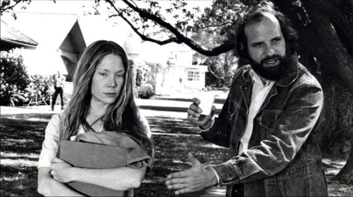 Sissy Spacek (left) and Brian De Palma (right) on the set of Carrie.