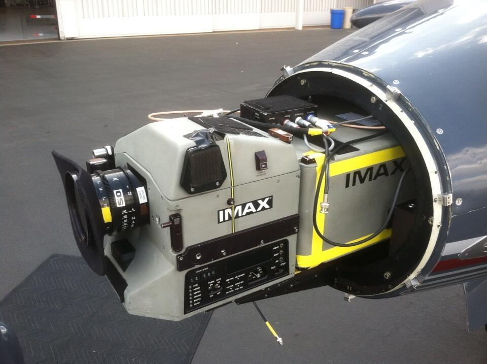 IMAX camera on a learjet on the set of Interstellar.