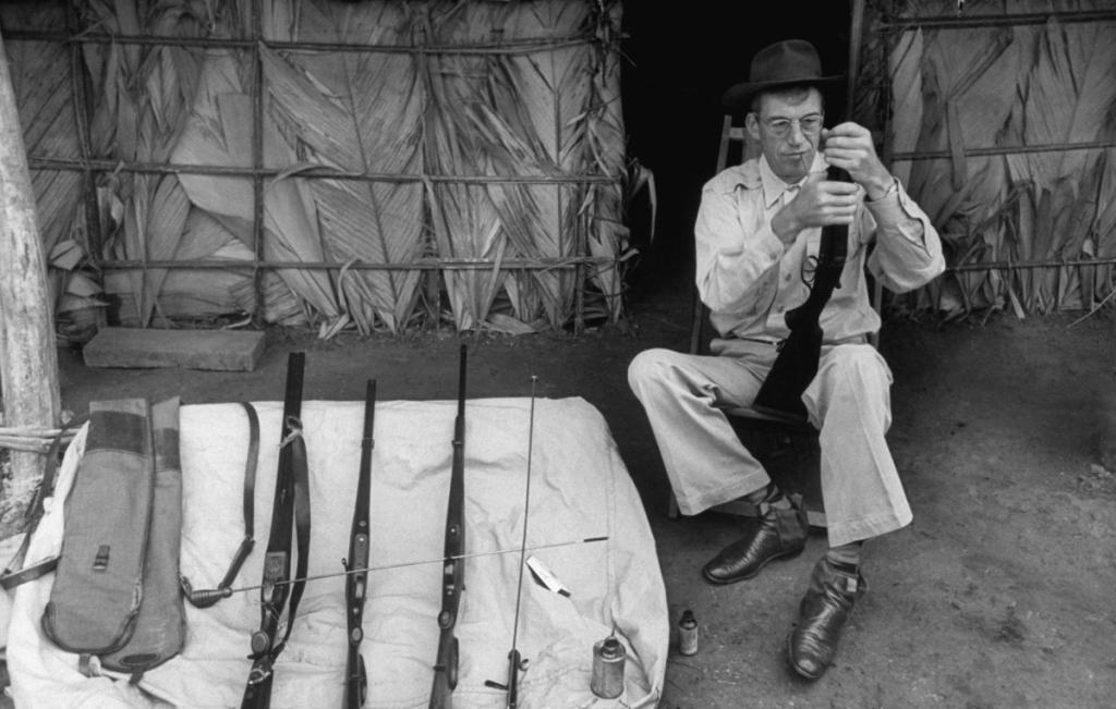 Huston's assortment of rifles.