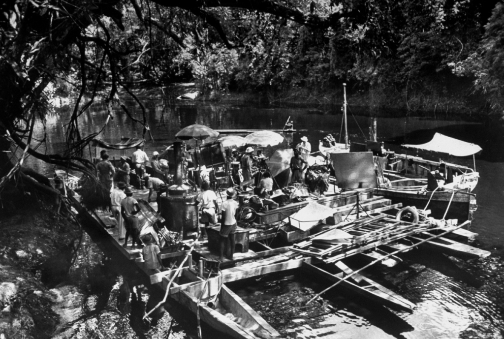The sprawling contraption required to film on the river.