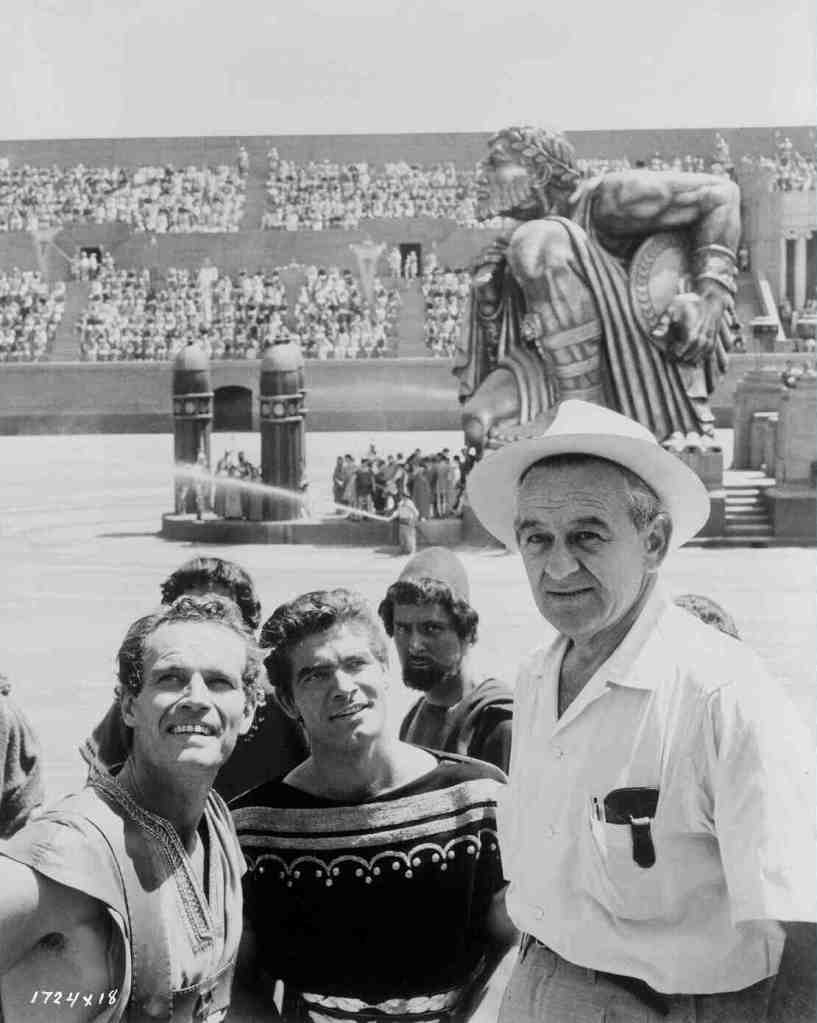 (Left to right) Heston, Stephen Boyd and Wyler.