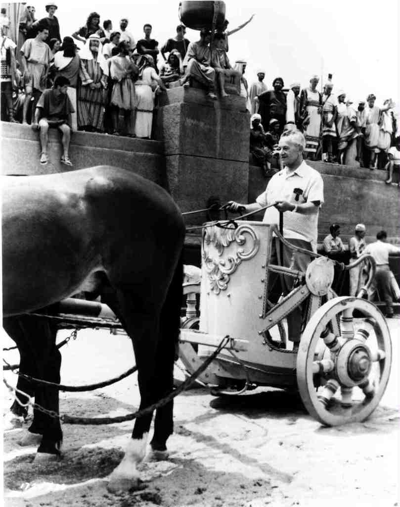 Wyler tries out a chariot.