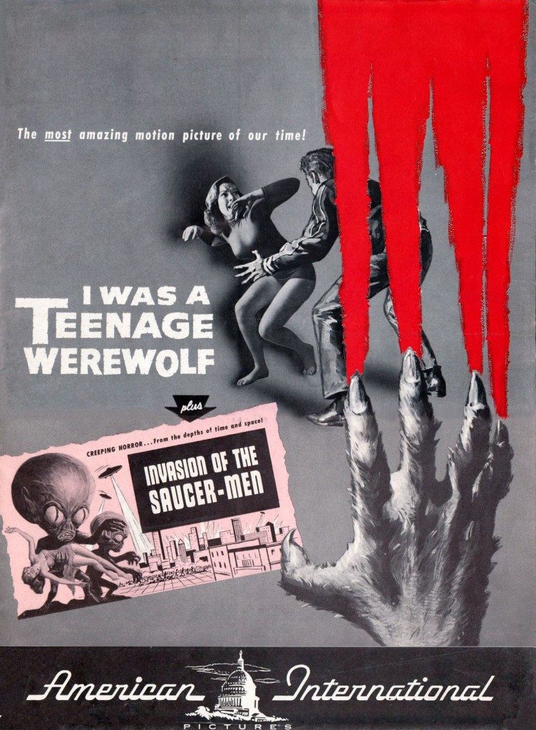 An American International Pictures double-bill topped by I Was a Teenage Werewolf (1957).