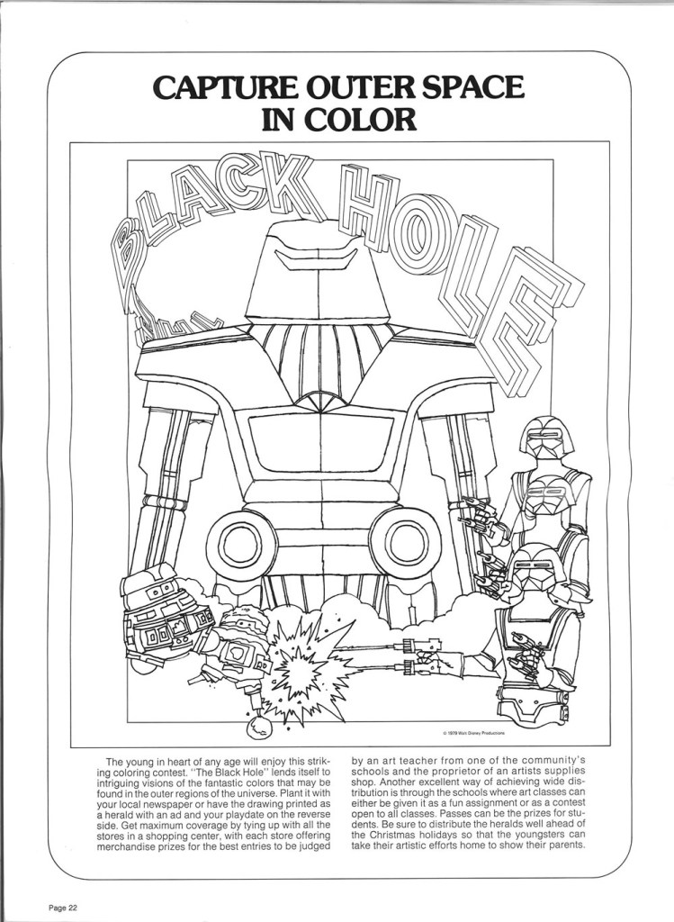Black Hole (1979) coloring activities. You know. For kids.