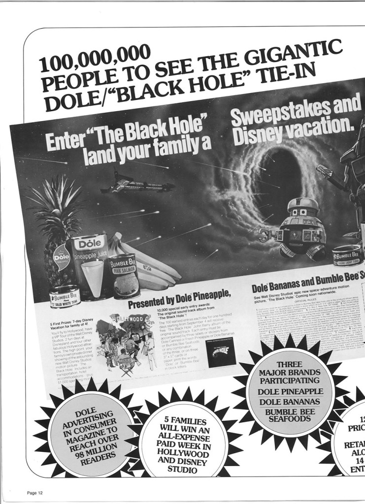 The Black Hole's (1979) Dole pineapple tie-in.