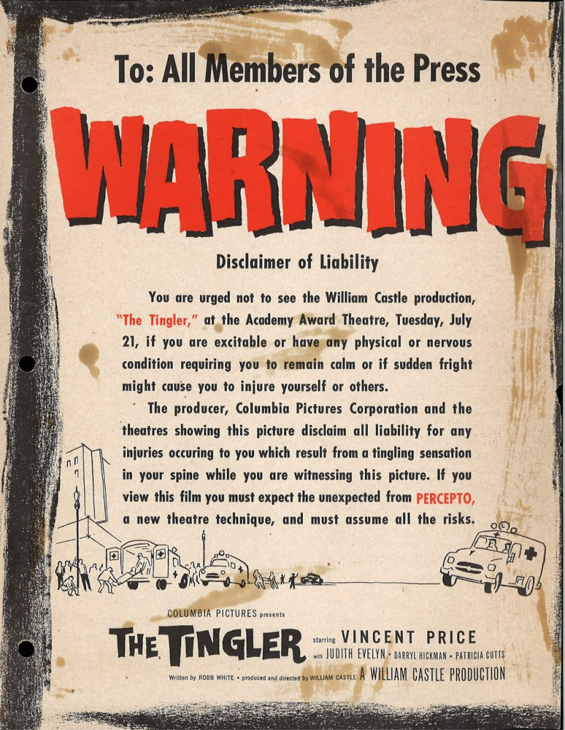 A warning for members of the press about to witness The Tingler (1959).