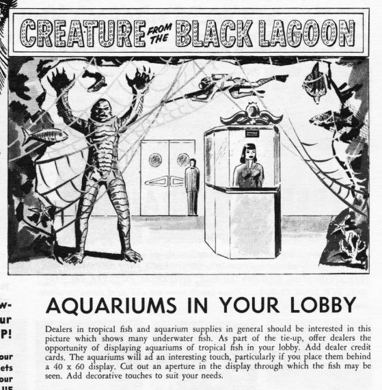 A recommendation for lobby decor for The Creature From the Black Lagoon (1954).