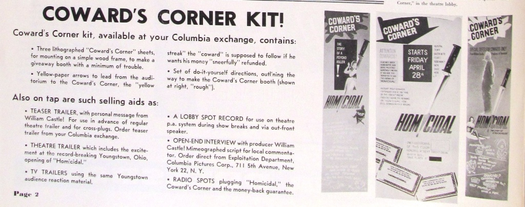 How to build the Coward's Corner display for William Castle's Homicidal (1961).