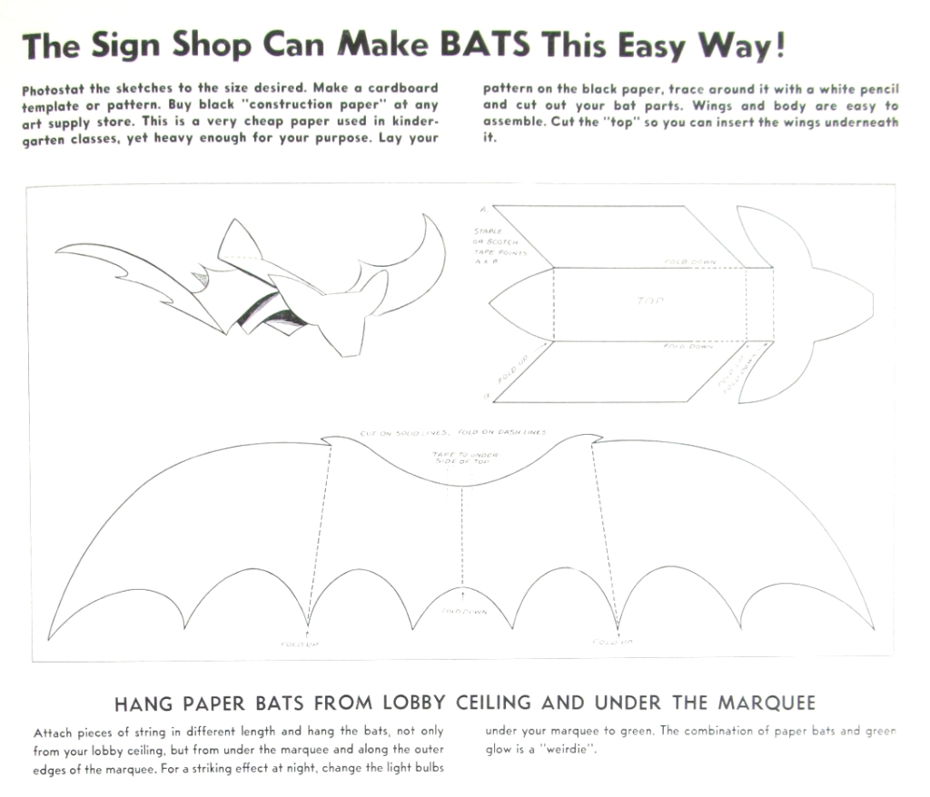 Instructions for building a giant paper bat to promote Kiss of the Vampire (1963).