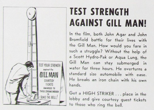 Test your strength against the Gill Man for Revenge of the Creature (1955).
