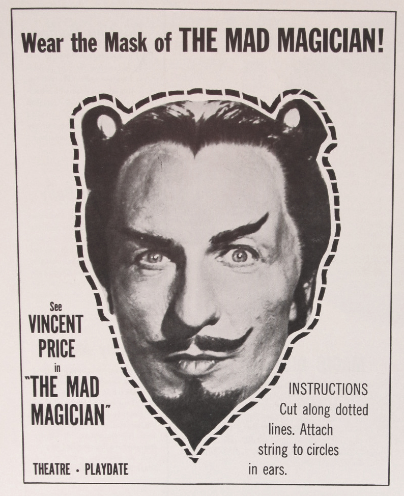 Cut out your own Vincent Price mask for The Mad Magician (1954).