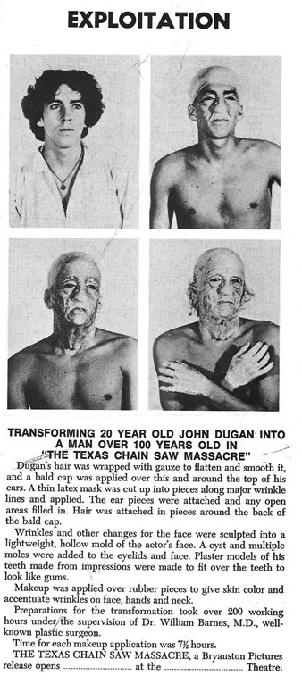 The process behind the Old Man make-up in The Texas Chain Saw Massacre (1974).