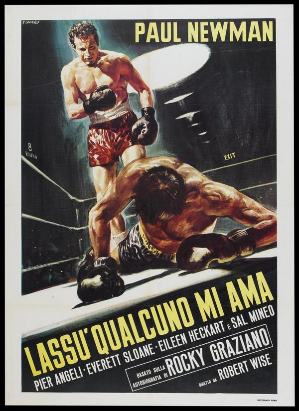 The Italian poster for the Paul Newman boxing biopic Somebody Up There Likes Me.