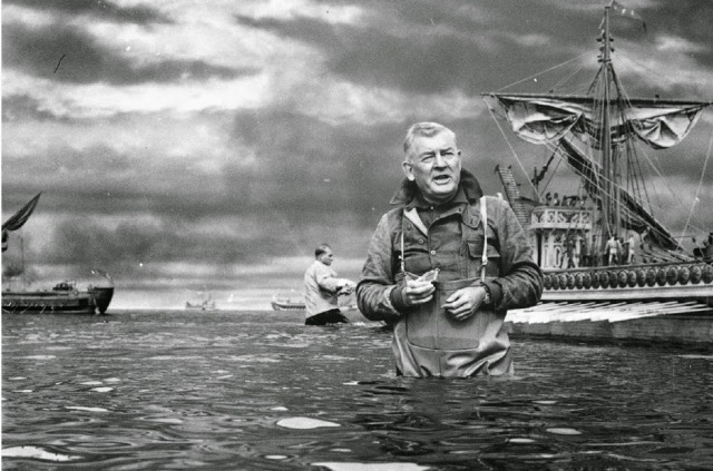 A.Arnold 'Buddy' Gillespie in the miniatures tank for BEN HUR (1959) (matte shot)