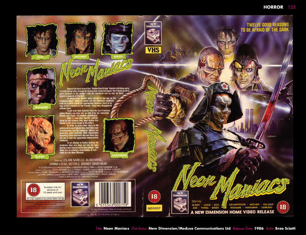 Neon Maniacs vhs cover, tom hodge
