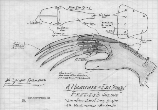 Mechanical special effects designer Jim Doyle's blueprint for Freddy Krueger's infamous glove.