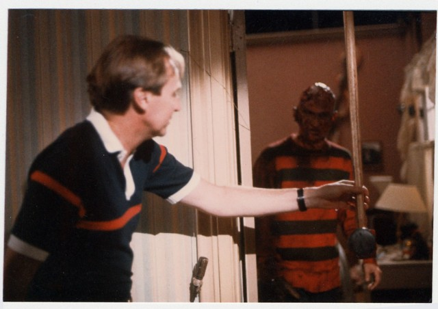 Wes Craven and Robert Englund on the set of A Nightmare on Elm Street.
