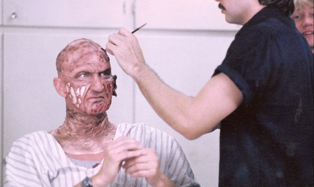 Robert Englund in the make-up chair.