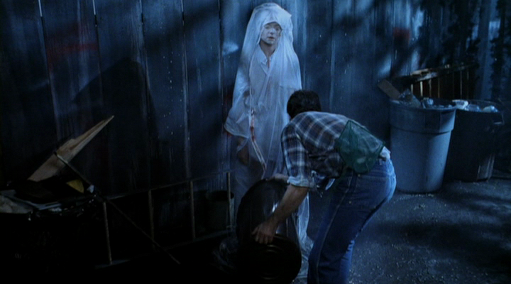 A crew member dumping a bucket of eels and other assorted creepy crawlies at the feet of Tina actress Amanda Wyss.
