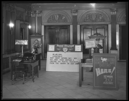 A telegraph machine in the lobby of the Kentucky Theater in Lexington, Kentucky circa 1932.