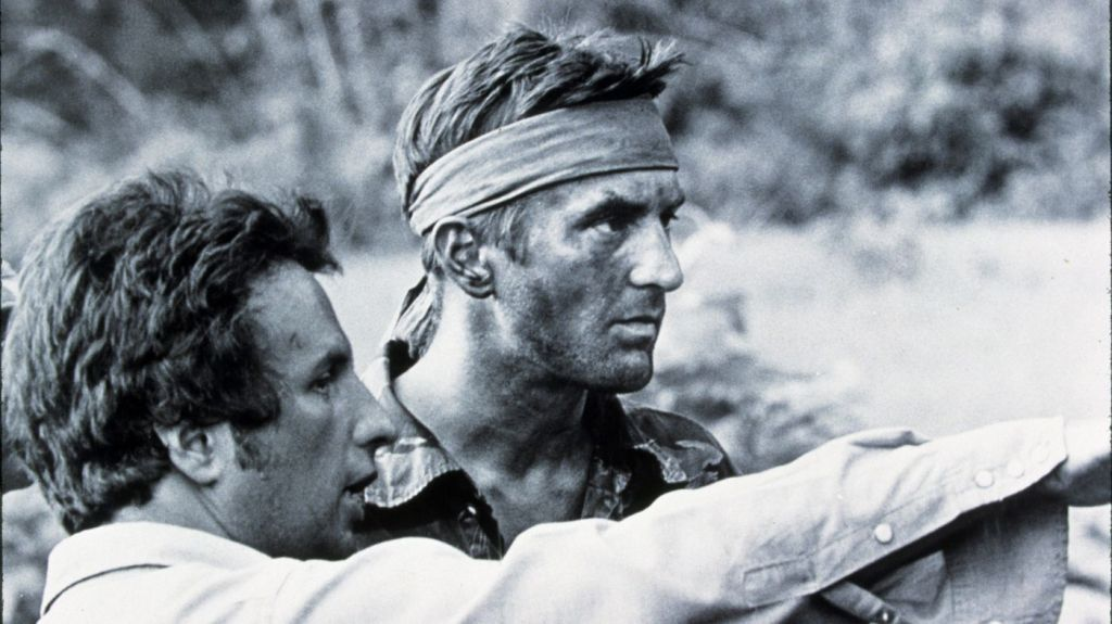 Michael Cimino and Robert DeNiro on the set of The Deer Hunter