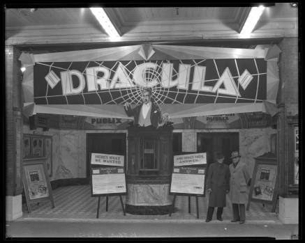 Movie theater display for 1931's Dracula in front of the Kentucky Theater in Lexington, Kentucky.