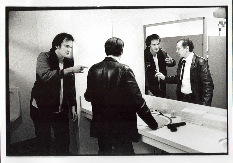 """Reservoir Dogs (Quentin Tarantino and Steve Buscemi rehearse """"Reservoir Dogs"""" at the 1991 lab.) (indiewire)"""