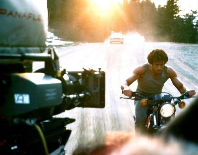Sylvester Stallone on the set of First Blood