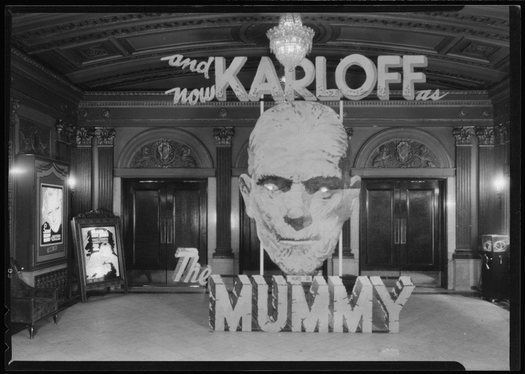 A theatrical display for the release of The Mummy (1932) outside the Kentucky Theater in Lexington, KY.
