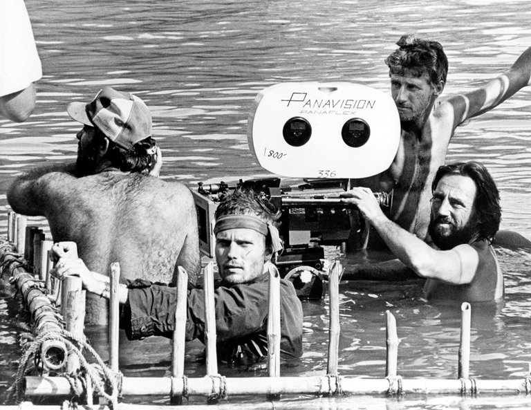 Vilmos Zsigmond on the set of The Deer Hunter