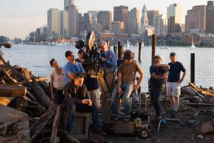 Michael Ballhaus shoots Leonardo DiCaprio on the set of The Departed.