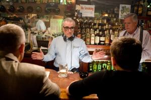 Martin Scorsese on the set of The Departed.