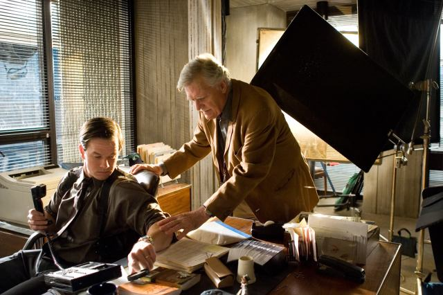 Michael Ballhaus and Mark Wahlberg on the set of The Departed.