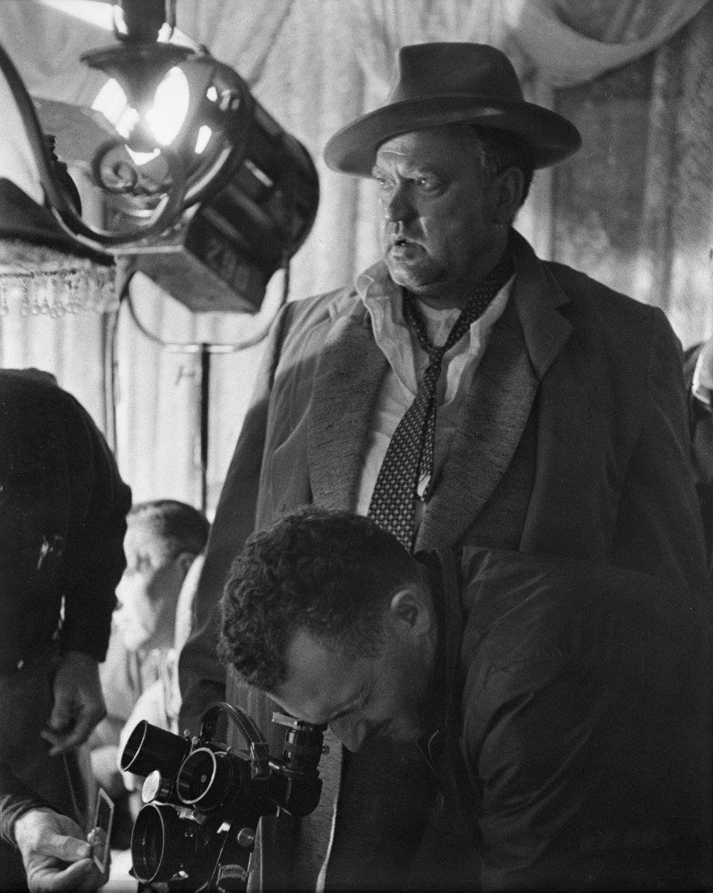 Orson Welles on the set of Touch of Evil