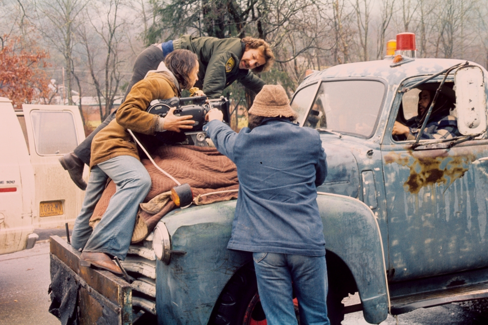 Werner Herzog on the set of Stroszek low-fi car rig