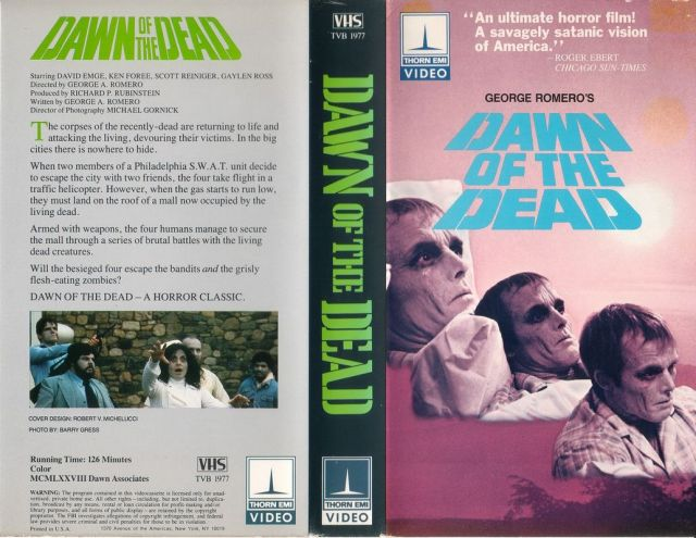 Dawn of the Dead Thorn EMI VHS release