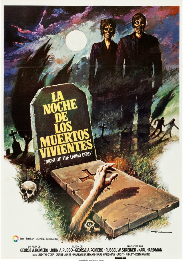 Night of the Living Dead Spanish language rerelease poster by Macario Gomez