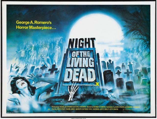 Night of the Living Dead british quad poster by tom chantrell from a 1980s rerelease