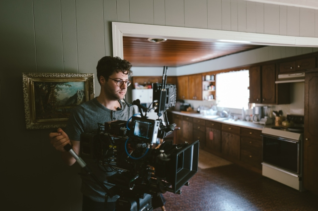 Andrew Droz Palermo on the set of A Ghost Story.