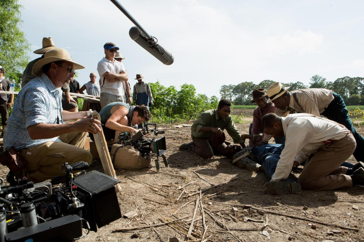 Rachel Morrison behind the scenes of Mudbound.