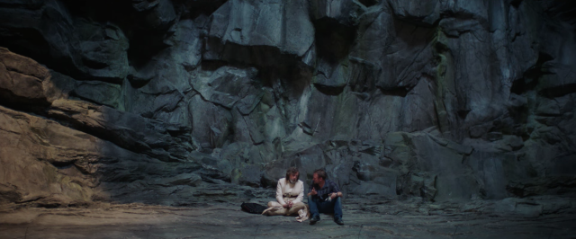 Mark Hamill and Rian Johnson on the set of Star Wars The Last Jedi