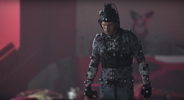 Mark Ruffalo in his Hulk motion capture suit on the set of Thor Ragnarok