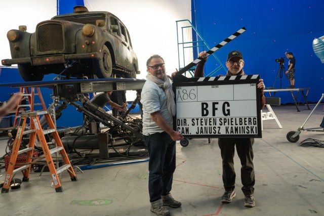 Steven Spielberg and janusz kaminski on the set of The BFG