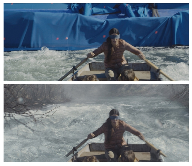 Before and after VFX from Netflix's Bird Box (2018)